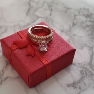 Jewelry - Faux Diamond Rose Gold Ring & Band
